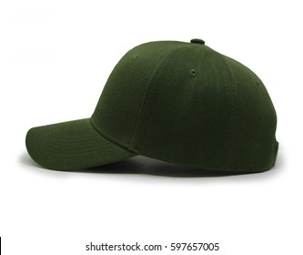 Olive blank baseball cap closeup of side view on white background