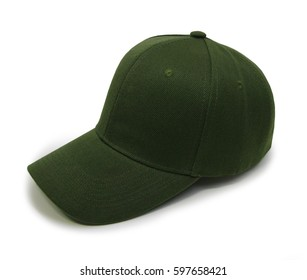 Olive blank baseball cap closeup of isolated view on white background