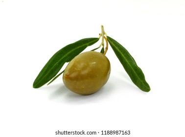 Olive branch with olive, isolated on white background.