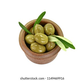 Olive branch with olives in a bowl, isolated on white background