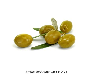 Olive branch with olives, isolated on white background