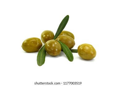 Olive branch with olives, isolated on white background.