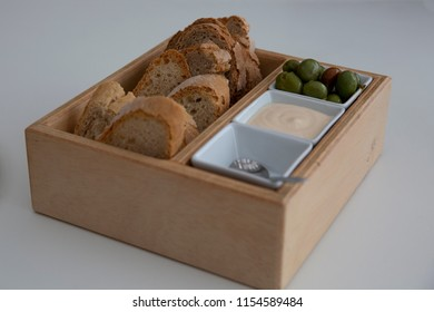 olive bread and dip beautifully and appetizingly prepared for lunch or dinner. delicious summer appetizer and starter for guests or party snacks. holiday snack