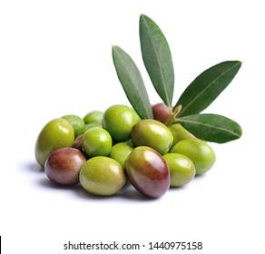Olive fruits isolated on white backgrounds.