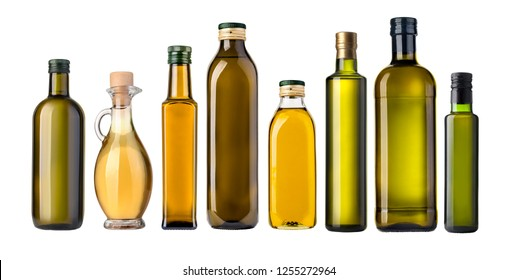 Olive glass oil bottle on white background