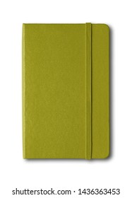 Olive green closed notebook mockup isolated on white