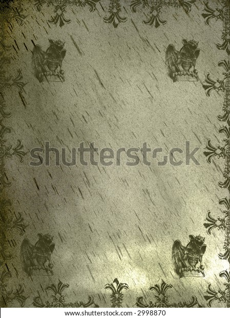 olive green hued gothic medieval griffin background grunge page