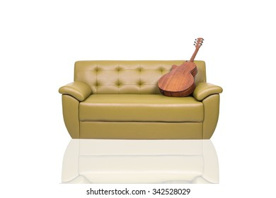 Olive Green Sofa On White Background