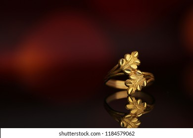 Olive leaves symbol on gold ring, Fashion gold ring