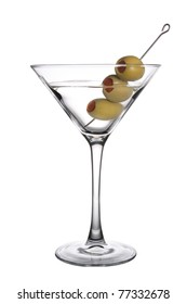 Olive Martini on a white background