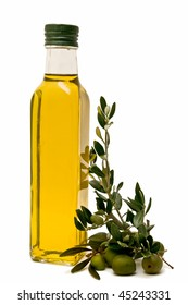 Olive oil bottle, decorated with olives and olive branches