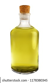 Olive oil bottle isolated on white with cork on