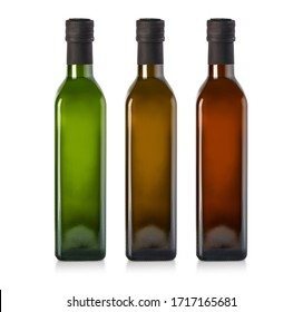 Olive oil bottle isolated on white background, with clipping path