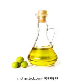 Olive oil bottle isolated on white background.