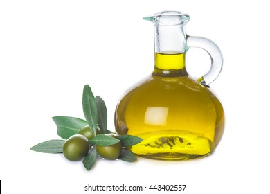 Olive oil bottle with leaves and olives isolated on  a white background