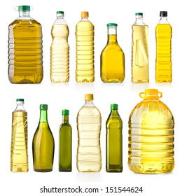 Olive oil bottles isolated on white