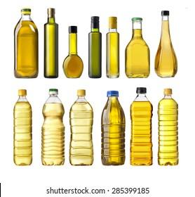 Olive oil bottles isolated on white