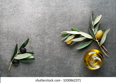 Olive oil and olive branch on gary background