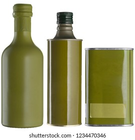 Olive oil cans without labels isolated on white. Set of oil cans and bottles, metal and glass.
