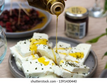 Olive oil and cheese feta, two of the best traditional products of Peloponnese, Greece.
