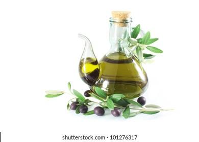 Olive Oil Extra Virgin, glass pitcher, olives