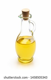 Olive oil in a glass bottle isolated on white background - clipping path included