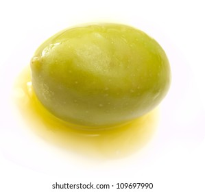 olive with oil isolated