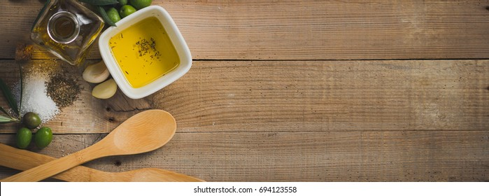 Olive oil and olives, long banner  format