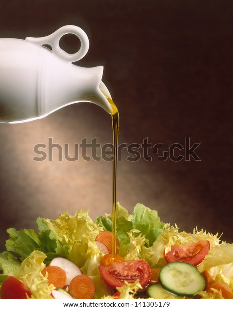 olive oil on mixed vegetables