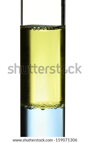 olive oil on water in test tube