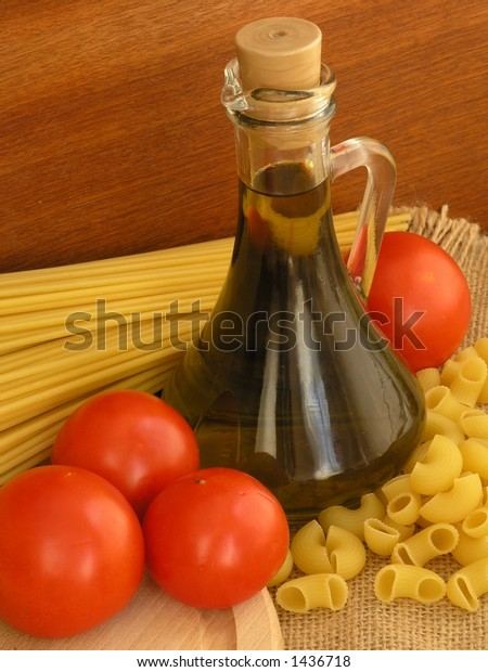 Olive oil, pasta and tomatoes