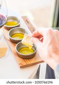 Olive oil tasting in Alentejo region, Portugal.