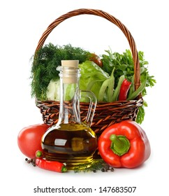 Olive oil and vegetables isolated on white background