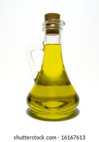Olive oil.Detail carafe with olive oil.