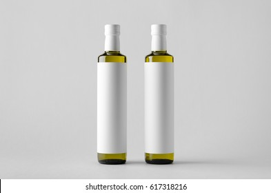 Olive / Sunflower / Sesame Oil Bottle Mock-Up - Two Bottles. Blank Label