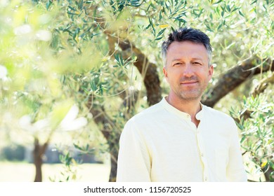 Olive trees. Handsome man posing in olive trees garden. Male portrain over mediterranean olive field ready for harvest. Confident mature man in italian olive grove with ripe fresh olives.