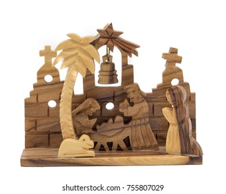 olive wood nativity scene for christmas decoration