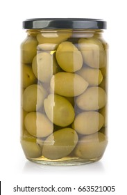 olives bottles on a white background in bottle with clipping path