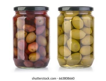 olives bottles on a white background in bottle