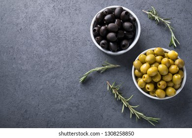 Olives in a bowl. Marinated olives. Top view. Copyspace
