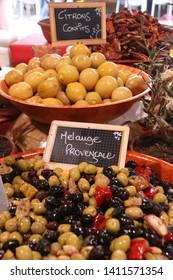 Olives at Cannes market, France.