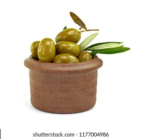 Olives in a clay bowl, isolated on white background