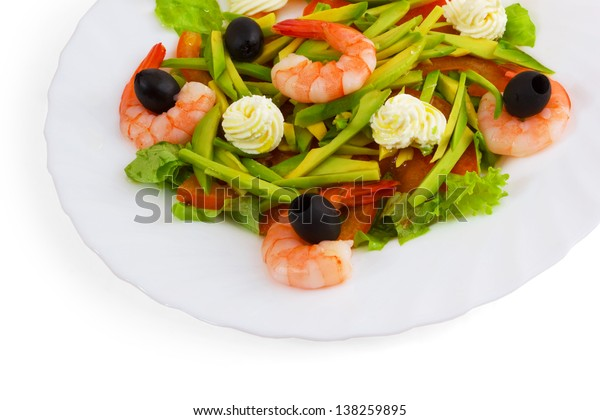 olives dish meal salad shrimp isolated on white background