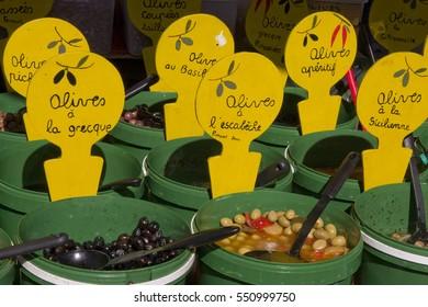 Olives displayed in market.