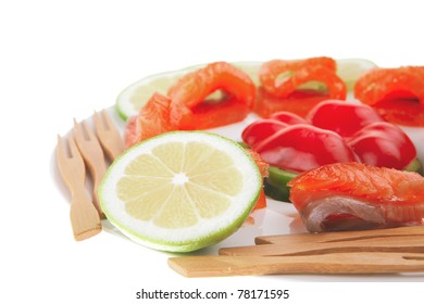 olives lemon and smoked salmon with cucumbers