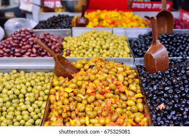 Olives in the Mahane Yehuda Market in Jerusalem.