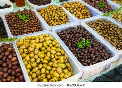 Olives in the market of the old town of Kotor in Montenegro