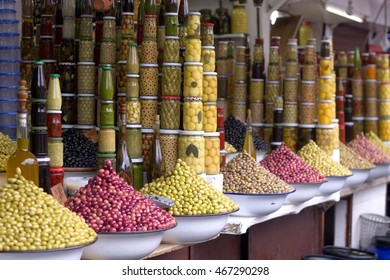 Olives, olive oil, spices, herbs in the Eastern markets