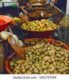 olives on the counter in the market