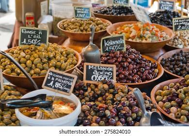 Olives on french market, close-up